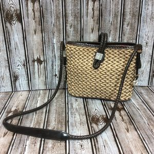 Brighton Tonal Woven Straw Shoulder Bag Crossbody